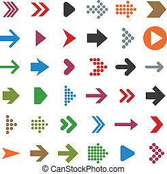 Flat arrow icons - Vector illustration of plain arrow icons...