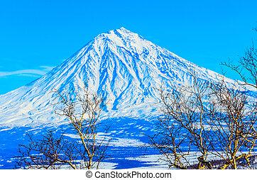 Russia, the Kamchatka Peninsula Freeride skiing on volcanoes...