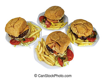 Four Cheese Burgers Combo VB - Isolated Four Cheese Burgers...