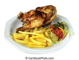 Isolated Half Chicken and Fries VB - Isolated Half Chicken...