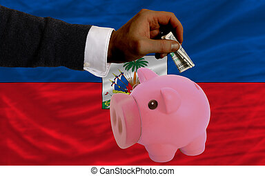 dollar into piggy rich bank and  national flag of haiti