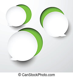 Paper white round speech bubbles - Vector abstract...