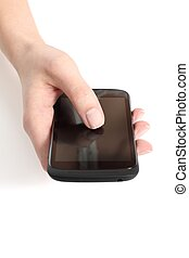 Woman hand touching a touch screen of a mobile phone