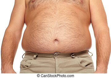 Fat man with a big belly Diet
