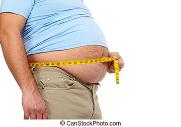 Fat man with a big belly. - Fat man holding a measuring...