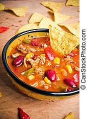 Mexican soup with tacos - Mexican soup (like chili con...