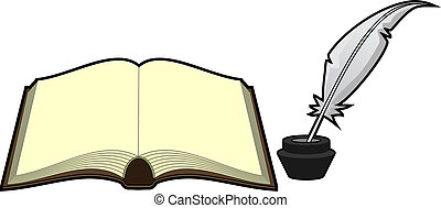 skriva, gammal, bok