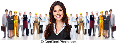 Business woman and group of workers people Isolated over...