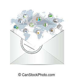 e-mail icon illustration design over a white background