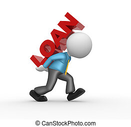 "Loan concept - 3d people - man , person and word ""Loan""...."