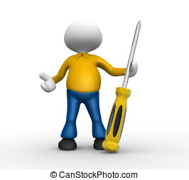Screwdriver - 3d people - man, person with a screwdriver