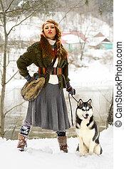 Feliz, jovem, mulher, ficar, siberian, Husky, cão