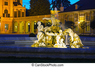 Fountain at the Schonbrunn palace in Vienna