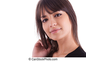 Close up portrait of young beautiful caucasian woman,...