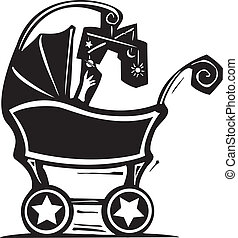 Baby Carriage - woodcut style baby in a baby carriage plays...