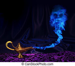 genie-lamp - maagic Aladdin genie lamp with genie arising...