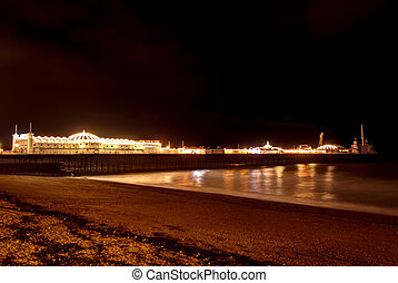 Brighton`s Beach Pier at night , England.