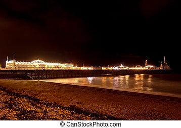 Brighton`s Beach Pier at night , England.