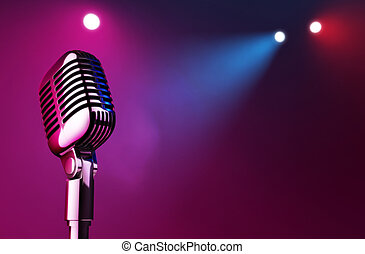 On Stage - 50s mic over stage light background.