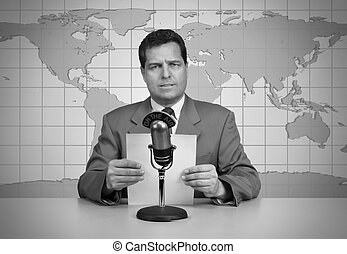 In the News - 1950s era TV news anchor reading the news