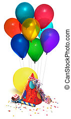 party time - party hat, balloons, noisemaker, confetti on...