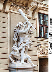 Sculptures in front of the austrian parliament building (Hohes Haus) in Vienna early in the morning