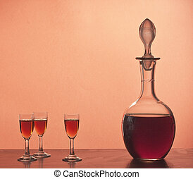 Old glassware with Marsala wine