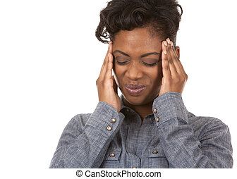 woman and headache - casual black woman with headache on...