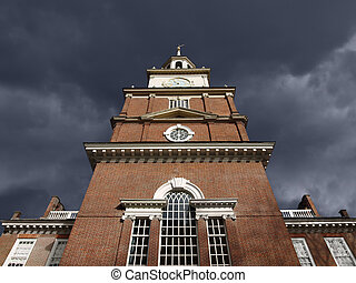 Independence Hall with Dark Storm Sky