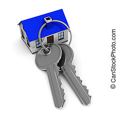 home keys - 3d illustration of keys and house, vertical
