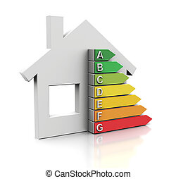 energy efficiency - 3d illustration of house with energy...