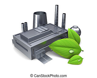 green industry - 3d illustration of factory building with...