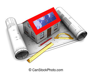 house with solar panel design - 3d illustration of house...