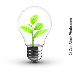 plant inside bulb - 3d illustration of green plant inside...