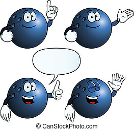 Smiling bowling ball set - Collection of smiling bowling...