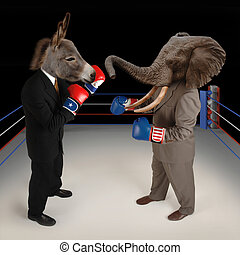 Republican vs Democrat - US Republican and Democrat mascots...