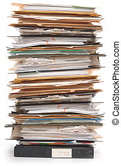Stack of Documents - Pile of documents and file folders on...