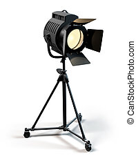 Stage Light - A vintage theater spotlight on a white...
