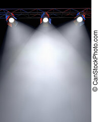 Stage Lights - A Stage Light Rack with 3 Spotlights Shining...