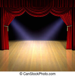 Curtain Up - Theatre stage with red curtain and spotlights...