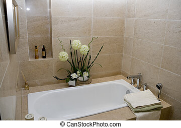 modern bathroom - The modern and clean bathroom with tub