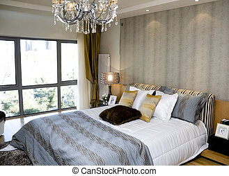 Bedroom - luxury interior of bedroom with large bed
