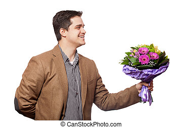 man with flowers in hand