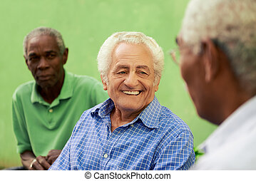 Group of old black and caucasian men talking in park -...