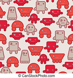 Cartoon robots seamless pattern