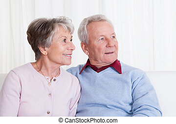 Portrait Of Happy Senior Couple Sitting On Couch