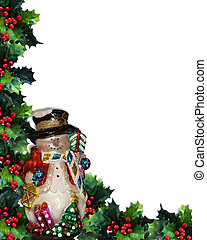 Christmas Background Snowman and Ho - Image and illustration...