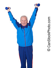 Portrait Of A Senior Man Exercising On White Background