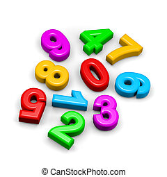 3D colorful funny disorderly digits illustration - 3D...