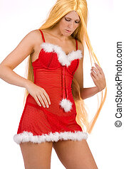 Beautiful Christmas faerie with very long hair - Studio...